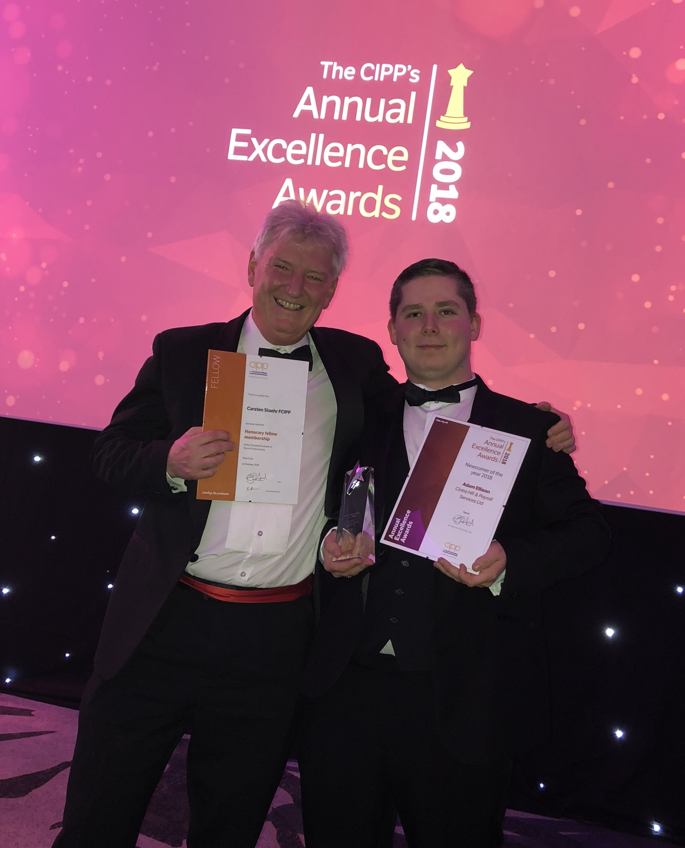 Cintra CEO Carsten Staehr and Newcomer of the Year Bureau Administrator, Adam Ellison