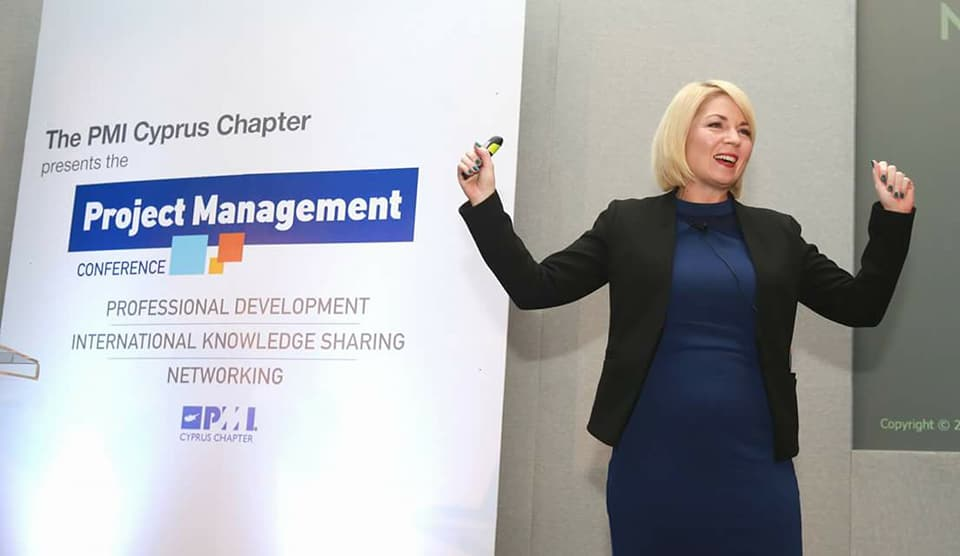 Lysa presenting at the PMI Cyprus Chapter